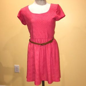 Lily Rose coral dress belted short sleeve M EUC